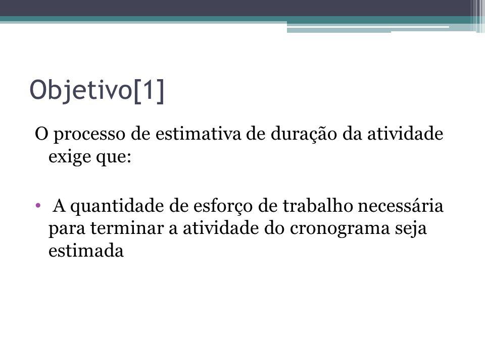 Objetivo[1] O processo de estimativa de duração da atividade exige que:
